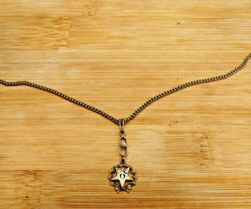 Order of Eastern Star 10K Gold Necklace Pendant OES Vintage w Colors & Pearl
