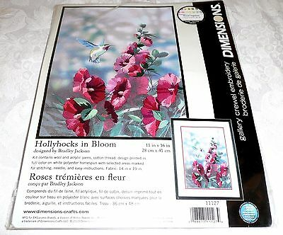 "Dimensions Crewel Emrbroidery Kit HOLLYHOCKS IN BLOOM 11"" x 16"""