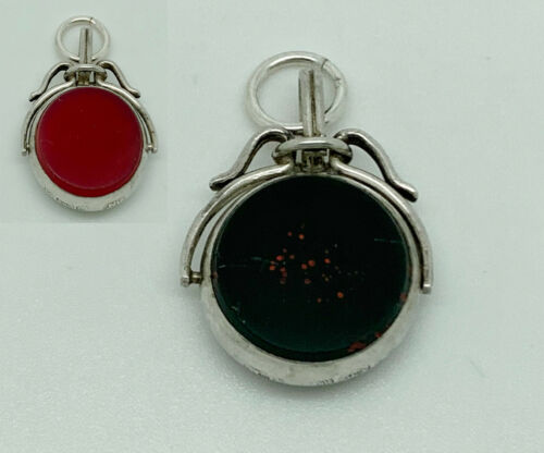Antique 1887 Victorian English Sterling Silver Agate Spinner Watch Fob Pendant