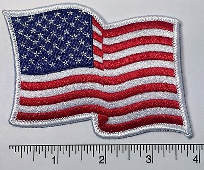 """American Flag WAVING Embroidered Patch 3.75 x 3"""" -- Patriotic Pride USA"""