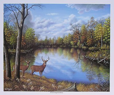 Deer Print - Autumn Landscape Scene - 18x22 inches, Limited Edition Art Poster