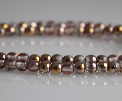 Apollo Gold Metallic   100 4Mm Round Pressed Czech Glass Druk Beads