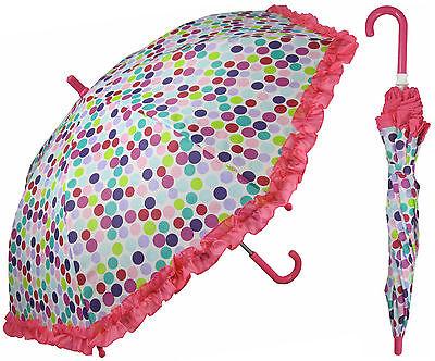 "32"" Children Kid Polka Dot Pink Ruffle Umbrella - RainStoppers Rain/Sun UV Cute"