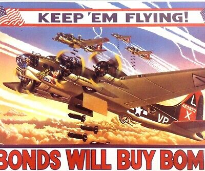 Ande Rooney Keep 'Em Flying! Bonds Will Buy Bombs! Porcelain On Metal Sign 1996