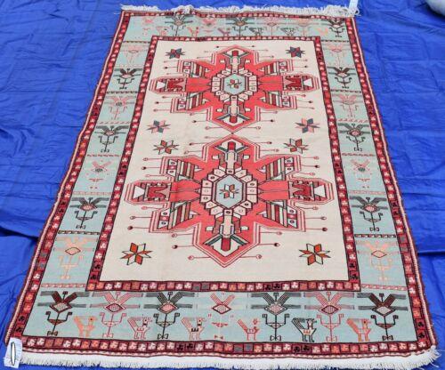 CLEARANCE Exceptionally Rare Pattern Silk Handmade Caucasian Kurdish Soumak Rug