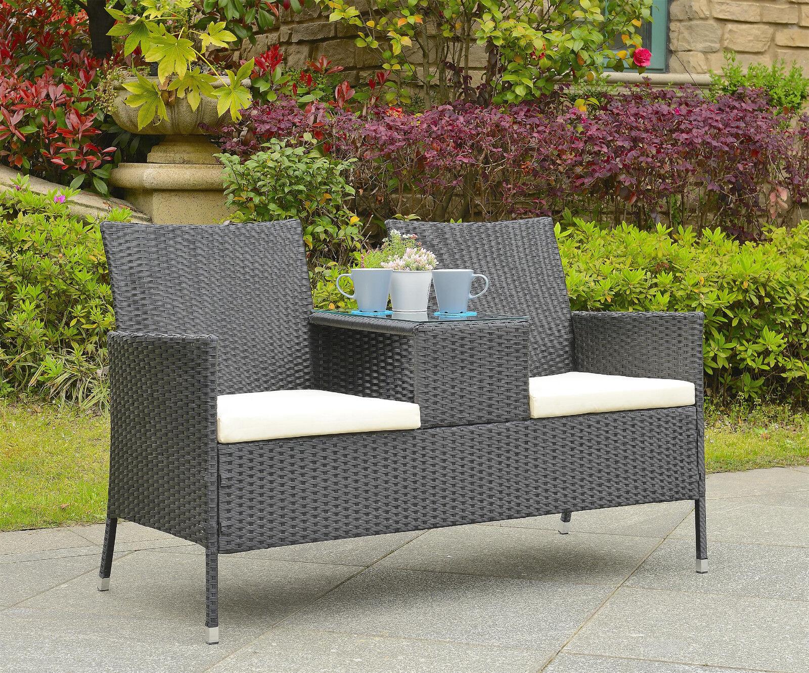Garden Furniture - Rattan Loveseat 2 Seater Chair Glass Table Patio Companion Garden Furniture Set