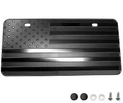 "USA American Flag Metal Embossed License Plate (12""x6"", Black)"