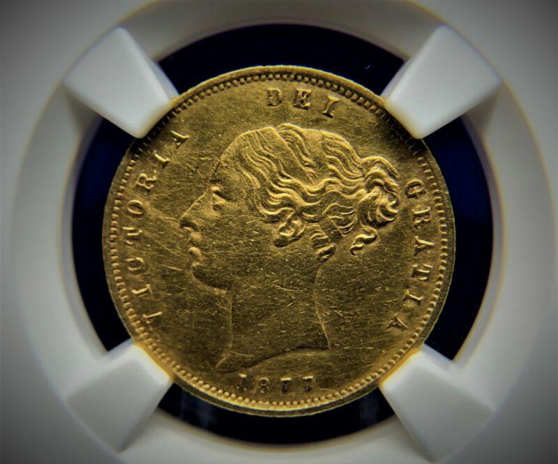 1877 G. Britain Victoria Half-Sovereign Gold Coin. NGC AU Details