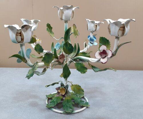 Superb Vintage talian Toleware Candle Holder 5-Arm Tole Painted Floral Flowers