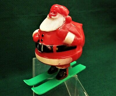Vintage Christmas Santa on Skis - Hard Plastic Candy Container 4.5
