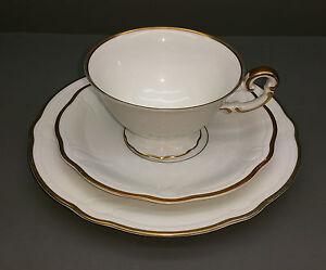 Hutschenreuther Tee / Kaffee Gedeck - Werdenfels - weiß / gold * Paul Müller 192