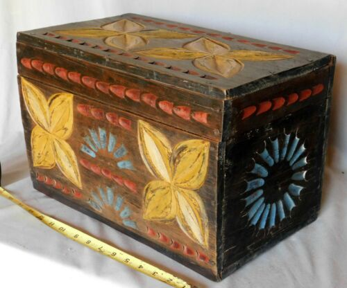 Antique wooden storage box trunk polychrome chip carved folk art 19th c flower
