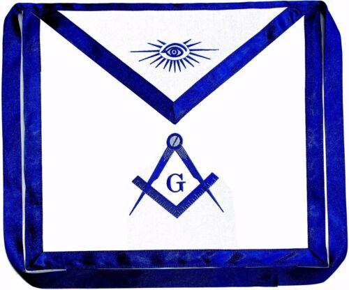 Masonic Square Compass CLOTH Apron EMBROIDERED  Blue Lodge Fraternity DMA-1000
