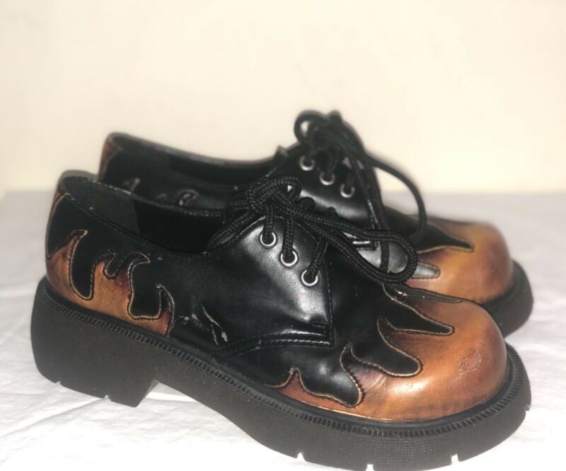 Vintage 90s FUNKY CHUNK Flame Platform Creepers Oxfords Punk Grunge Shoes 7M