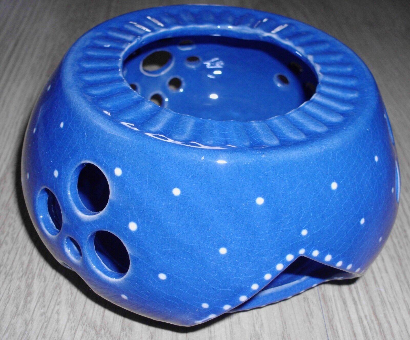Stövchen Kaffee-/Teekannenwärmer Keramik Blau mit weißen Punkten Zach Meißen