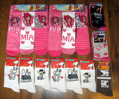 21 Paar Damen Socken Gr. 35-38 Peanuts Snoopy Monster High Mia and Me Konvolut_1