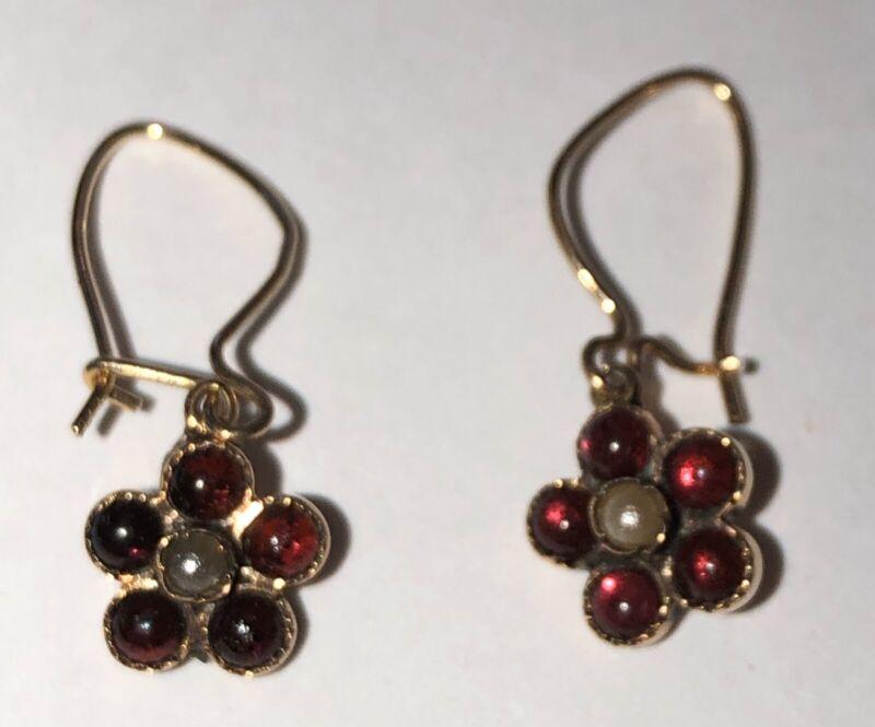 Victorian Garnet, Pearl Daisy Drop Earrings, 14 Karat Gold