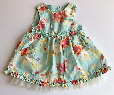Cherokee Baby Girl 6-9 Month Summer Dress Mint Green Floral Sleeveless