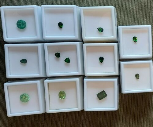 Lot #1 Lot of 12 Loose Gemstones Chrome Diopside, Green Yag, Light green Unknown