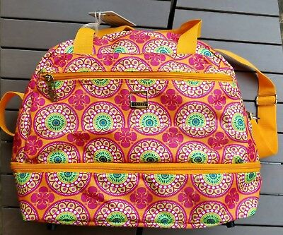 Lucas Expandable Overnight Bag Lightweight Floral Orange Multi-Color