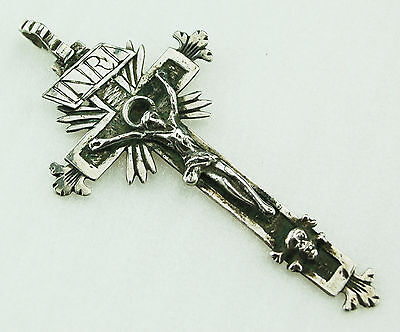 Kreuz Silber Anhänger 17.Jh. Italien Baroque Pendant Pectoral Cross Memento Mori