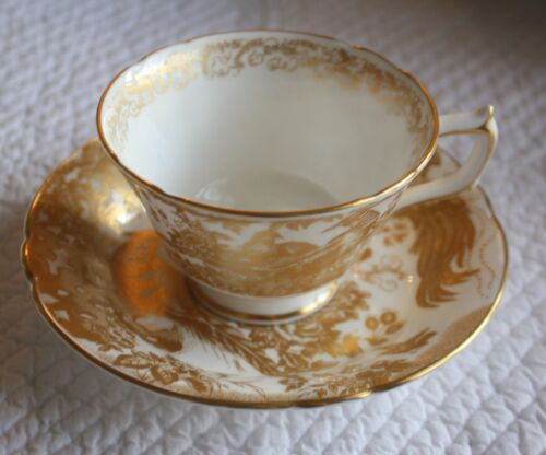 Gold Aves Cup Saucer Set Royal Crown Derby Excellent Condition 7 Sets Available