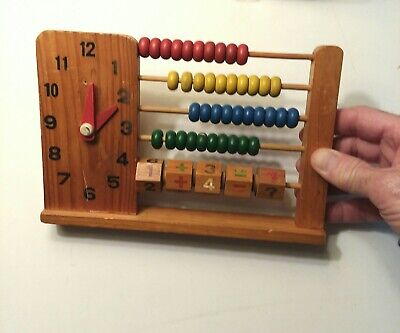 Vintage Wood Abacus + Clock & Addition Number Blocks Learning Toy