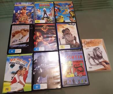 Ten movie DVDs for sale