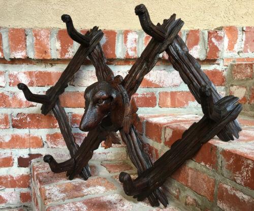 Antique Carved Black Forest Dog Hound Hunt Hat Cap Coat Rack Folding Wall Shelf