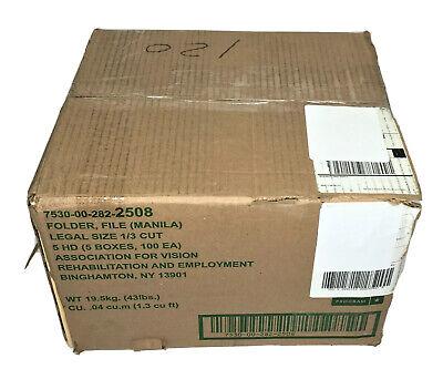 5 Boxes Manila File Folders Abilityone Skilcraft Legal Size 13 Tab 100box
