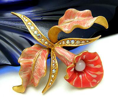 Fabulous Joan Rivers Retired Enamel Rhinestone Orchid Brooch Pin on Lookza