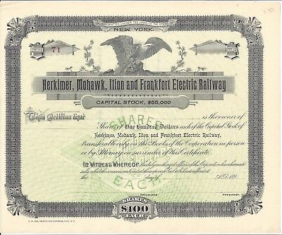 HERKIMER,MOHAWK,ILION AND FRANKFORT ELECTRIC RAILWAY.....1890'S UNISSUED STOCK