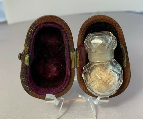 Scent Perfume Miniature French Victorian Crystal Bottle Fitted Leather Box