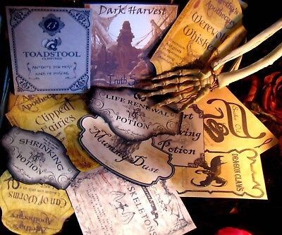 12 Halloween Potion Apothecary Labels Peel&Stick (set#3) Victorian Witch Decor