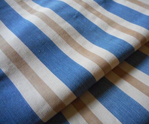 Antique Primitive Farm Wide Stripe Indigo Blue Brown Ticking Cotton Fabric ~