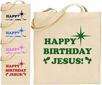Happy Birthday Jesus Large Cotton Tote Shopping Xmas Bag Secrete Christmas Gift  (Happy Birthday Shopping)