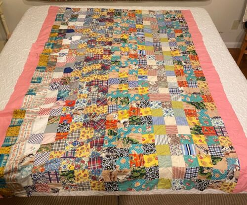 "Vintage Quilt Top Early Fabrics 59"" X 82"" Hand Sewn Pink Border"
