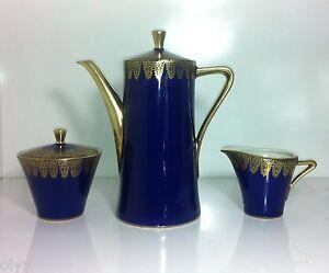 antique km royal porzellan bavaria germany cobalt gold teapot sugar bowl creamer. Black Bedroom Furniture Sets. Home Design Ideas