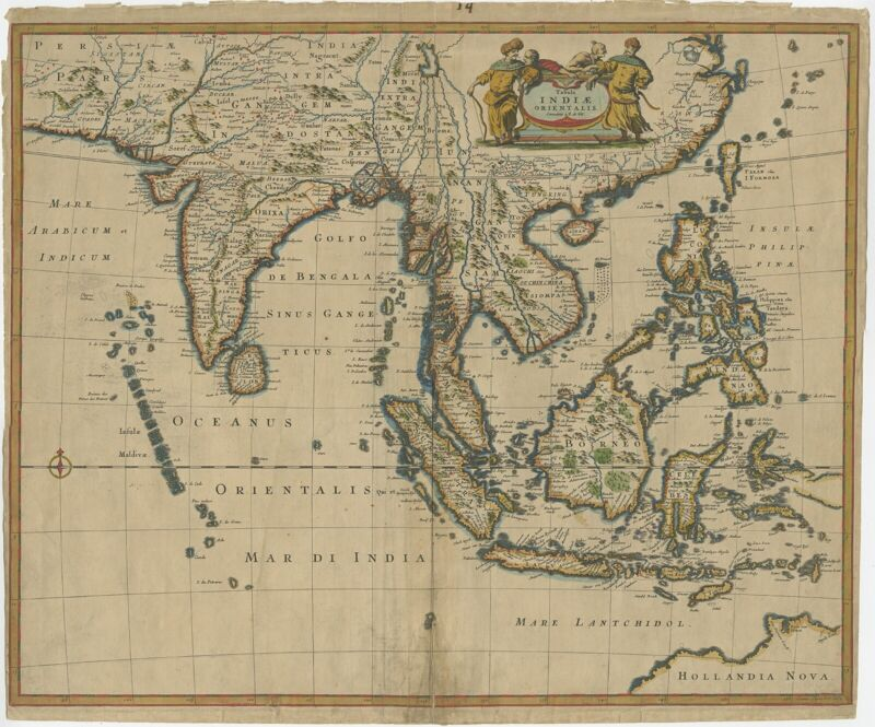 Antique Map of the East Indies by De Wit (1662)