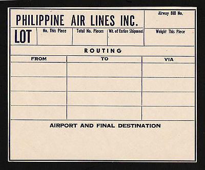 Opc Vintage Philippine Air Lines Pal Airway Bill Label Hinged