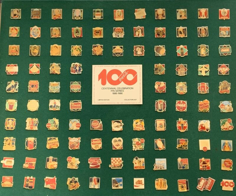 Vintage COCA-COLA 100 Years Centennial Celebration Pin Series Set 1886-1986