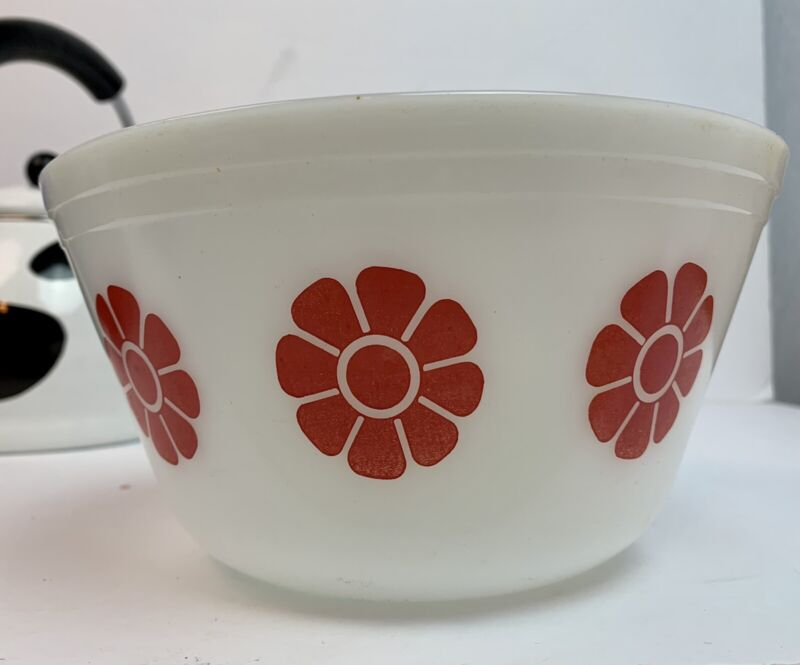 "Federal Glass Bowl Milk Glass Red Daisy Daisy 8"" Vintage Bowl"