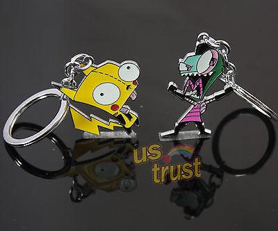 Invader Zim Alien Gir Robot Glitter Pikachu Gir & GAZ DIB ZIM Pendant Key Chain
