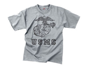 New-Vintage-Military-US-Marine-Corps-Globe-amp-Anchor-Graphic-Short-Sleeve-Tshirt
