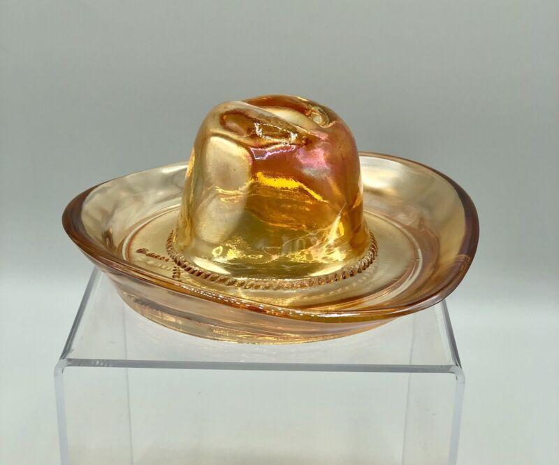 Vintage Jeanette Marigold Carnival Glass Cowboy Hat Ashtray /b