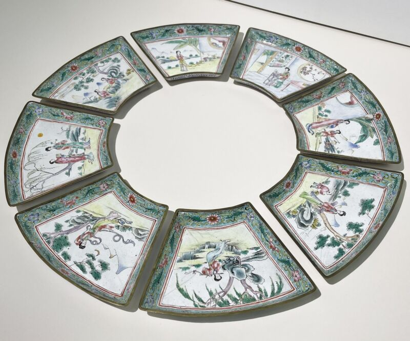 Set of 8 Antique Late 18th Early 19th Century Canton Enamel Sweet Meat Plates