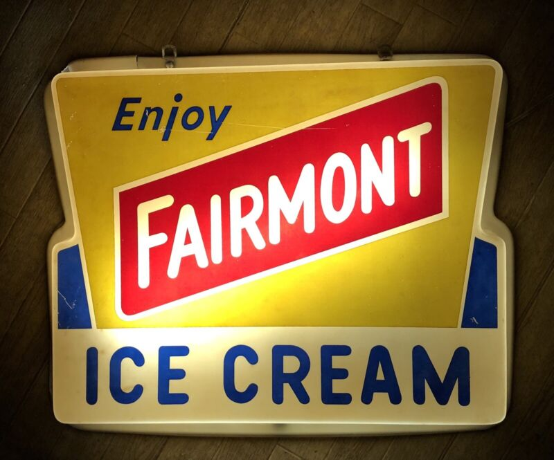 RARE Vintage FAIRMONT ICE CREAM Lighted Sign LIGHT WORKS