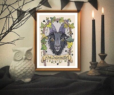 Black Phillip Print - Live Deliciously A5 Gothic Goat Halloween Wall Art Decor