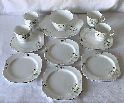 12 Pieces Vintage Heathcote China Art Deco Spring Flowers 6271 Plates Cups Bowl