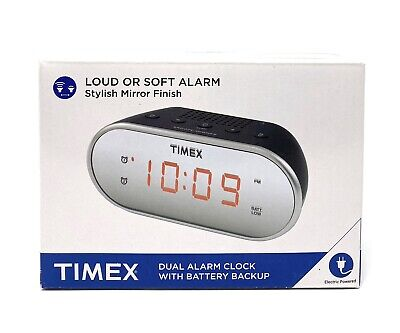 "Timex T124B Dual Alarm Clock with 0.7"" Red Display Radio Black"